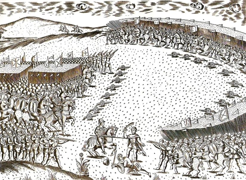 A detail from the only known representation of the Battle of Alcazar, which accompanies Miguel Leitão de Andrade's eyewitness account in hisMiscelânea(1629). It depicts the outnumbered Portuguese army, surrounded by Islamic forces.